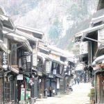 雪が降る前の奈良井 降った後の奈良井