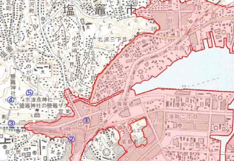 東日本大震災の塩竃市の被災マップ