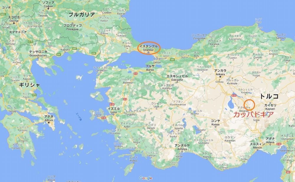 トルコの地図カッパドキアの位置