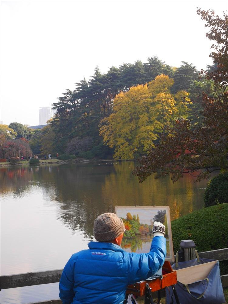 新宿御苑で絵画