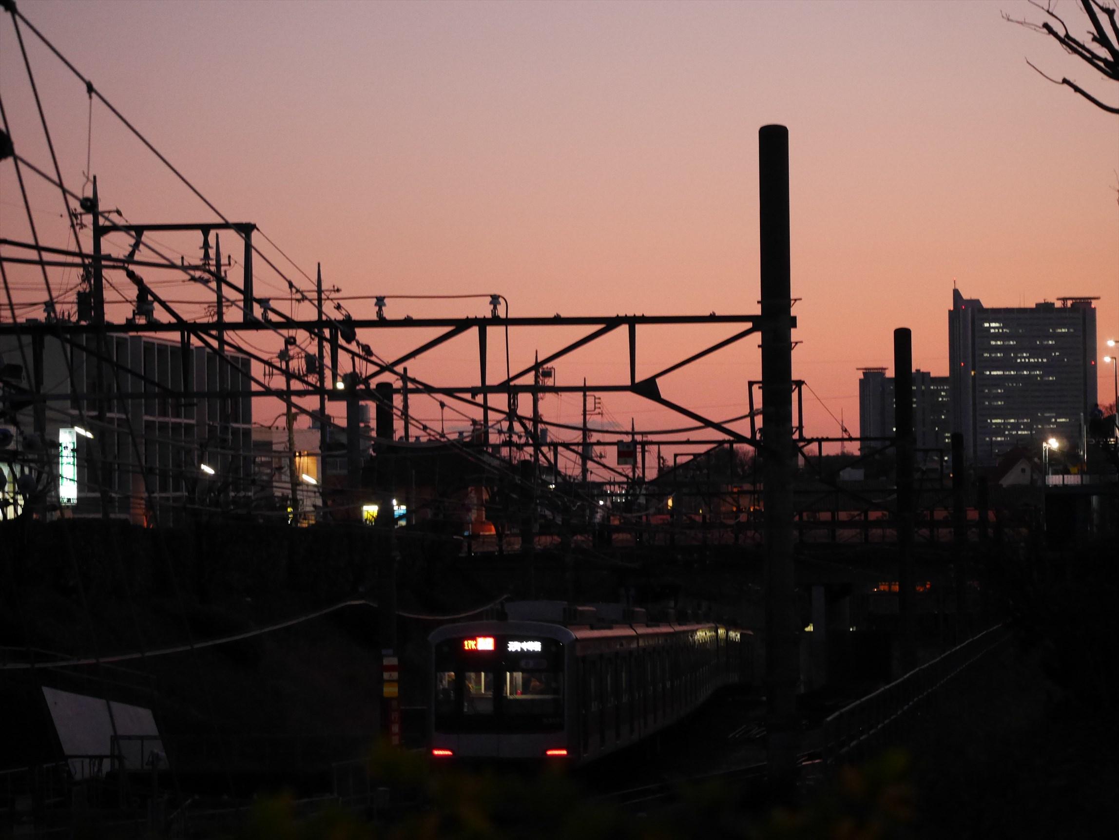 歩道橋から東京タワースカイツリー