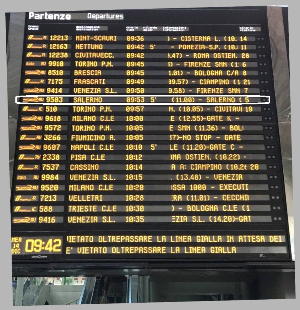 ローマテルミニ駅からナポリ中央駅へ