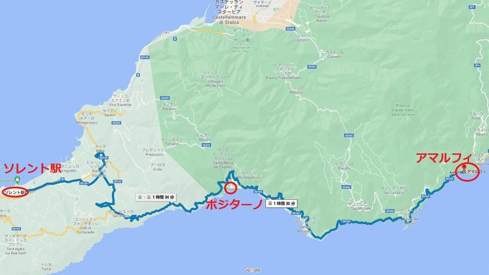 アマルフィまでの地図