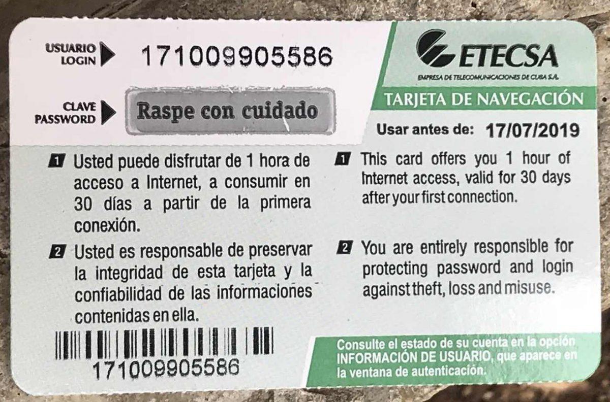 キューバのWiFiカード